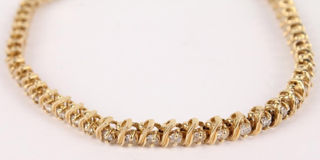 LADIES 14K YELLOW GOLD DIAMOND TENNIS BRACELET - 3