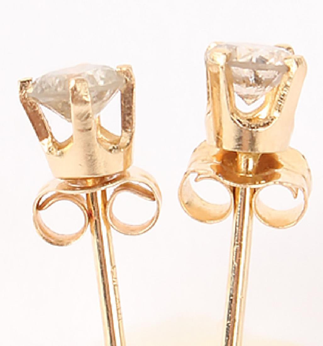 PAIR OF 14K GOLD DIAMOND STUD EARRINGS - 2