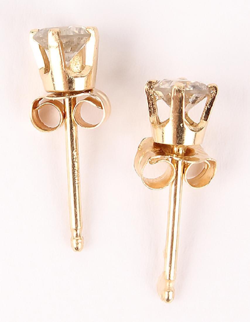 PAIR OF 14K GOLD DIAMOND STUD EARRINGS - 3