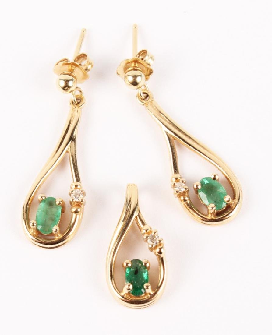 14K YELLOW GOLD EMERALD PENDANT & EARRINGS