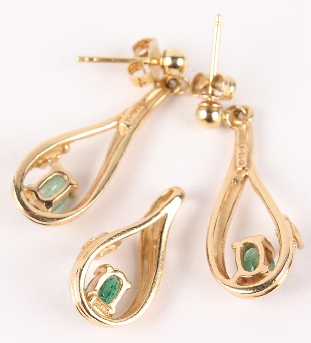 14K YELLOW GOLD EMERALD PENDANT & EARRINGS - 4