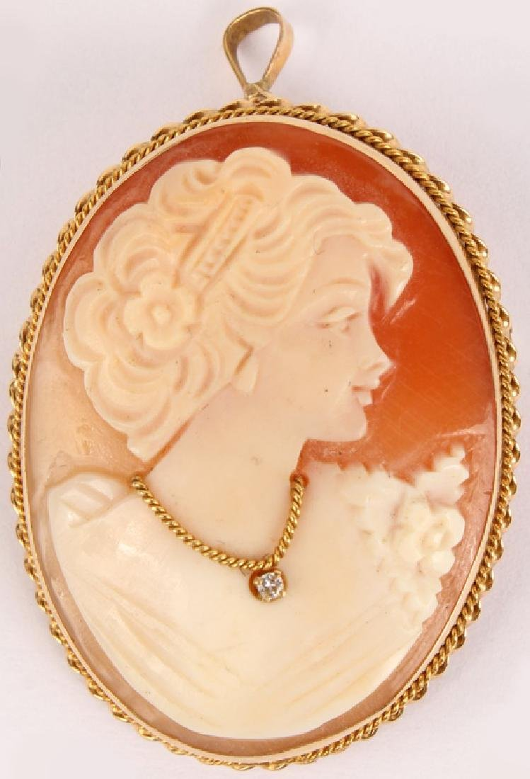 LADIES 14K YELLOW GOLD DIAMOND CAMEO PENDANT