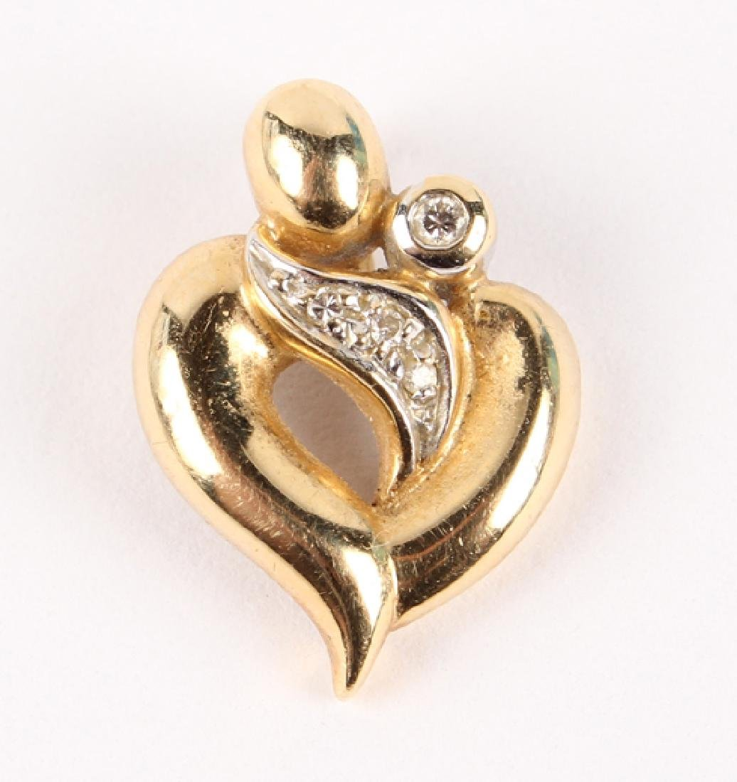 14K YELLOW GOLD & DIAMOND HEART PENDANT