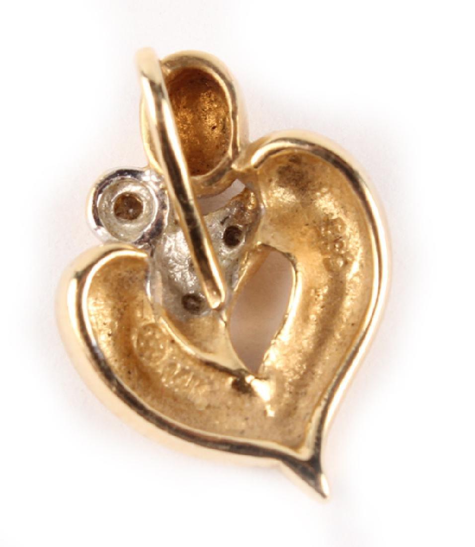 14K YELLOW GOLD & DIAMOND HEART PENDANT - 2