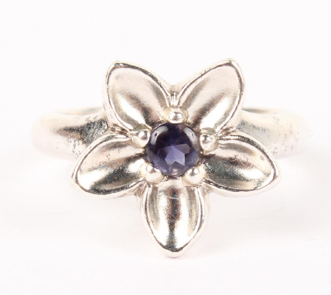 LADIES TIFFANY STERLING SILVER BLUE FLOWER RING