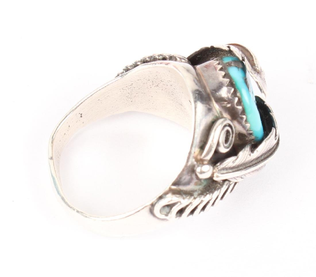 STERLING SILVER & TURQUOISE RING - 2