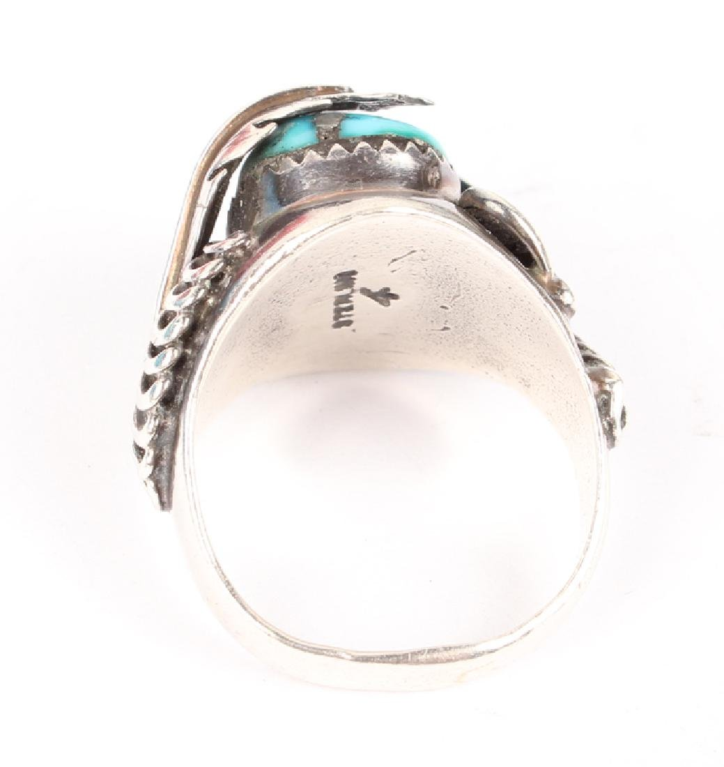 STERLING SILVER & TURQUOISE RING - 3