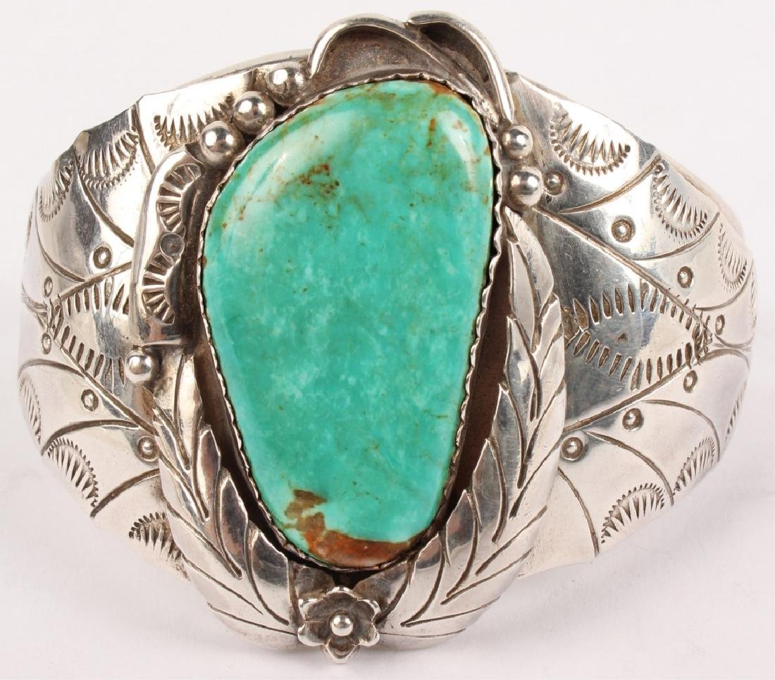 LARGE STERLING SILVER TURQUOISE CUFF BRACELET