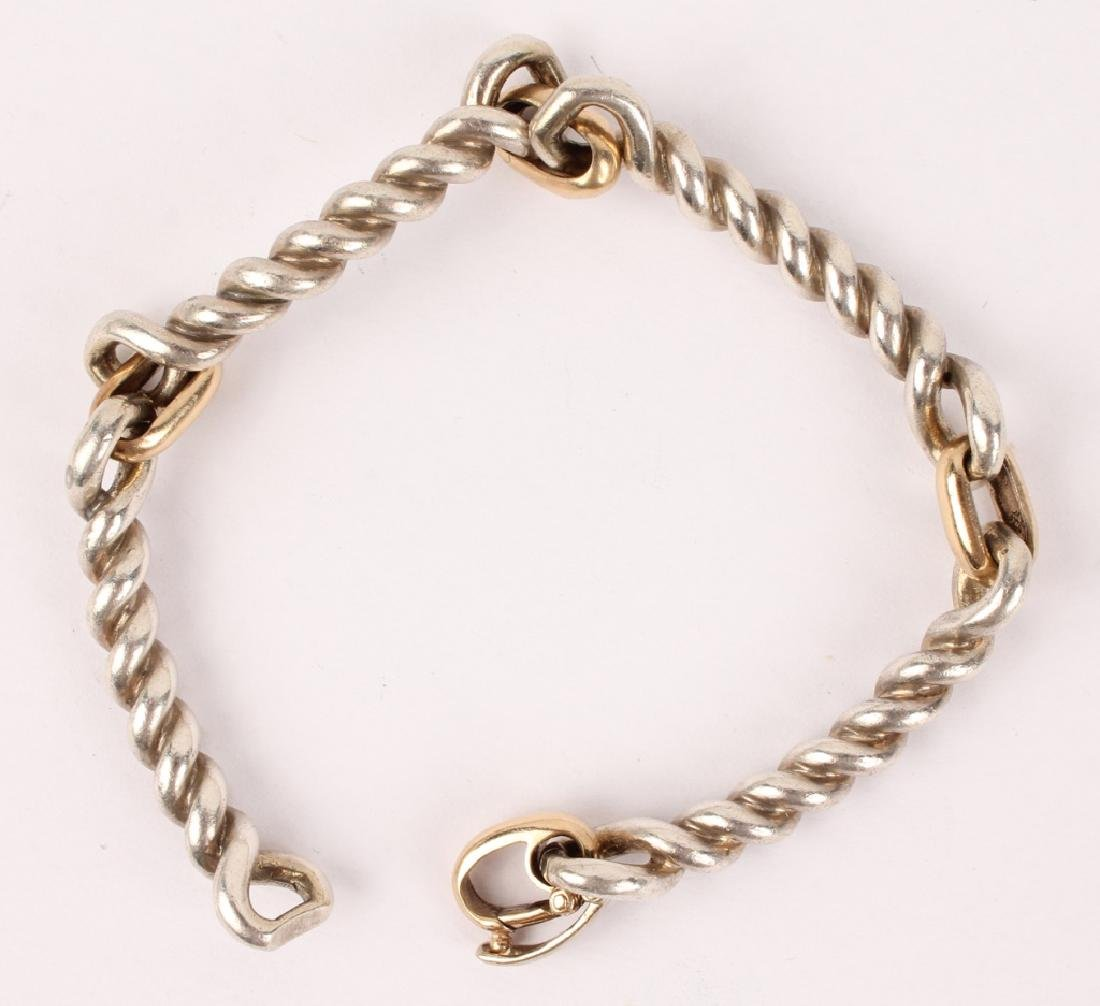 STERLING SILVER BRACELET WITH GOLD LINKS