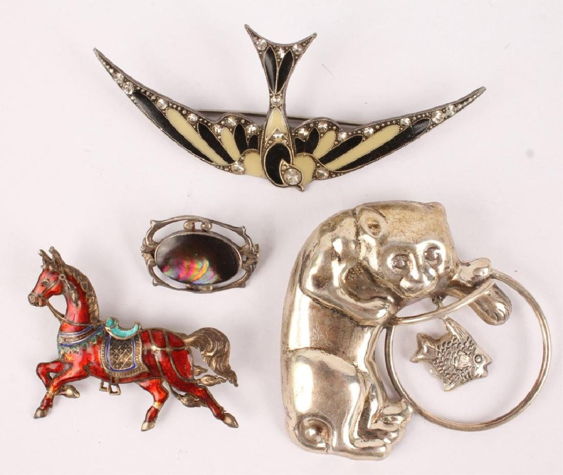 FOUR PIECE STERLING SILVER BROOCHES