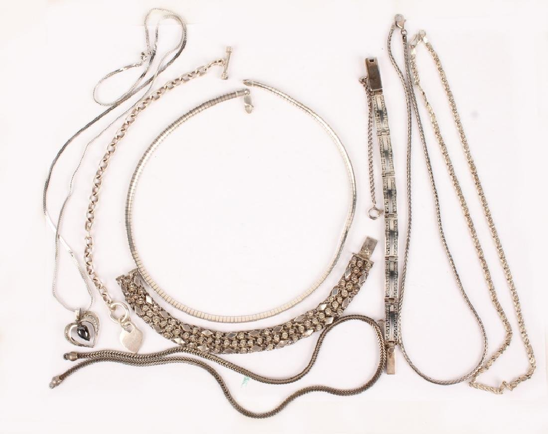 ASSORTED STERLING SILVER NECKLACES AND BRACELETS