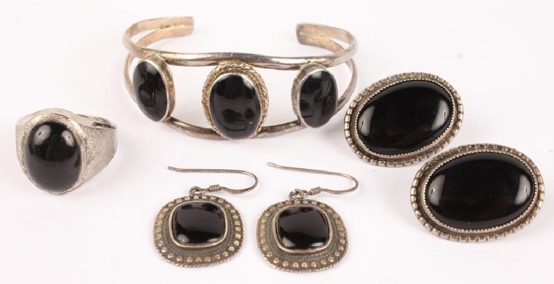 STERLING SILVER AND ONYX ASSORTED JEWELRY