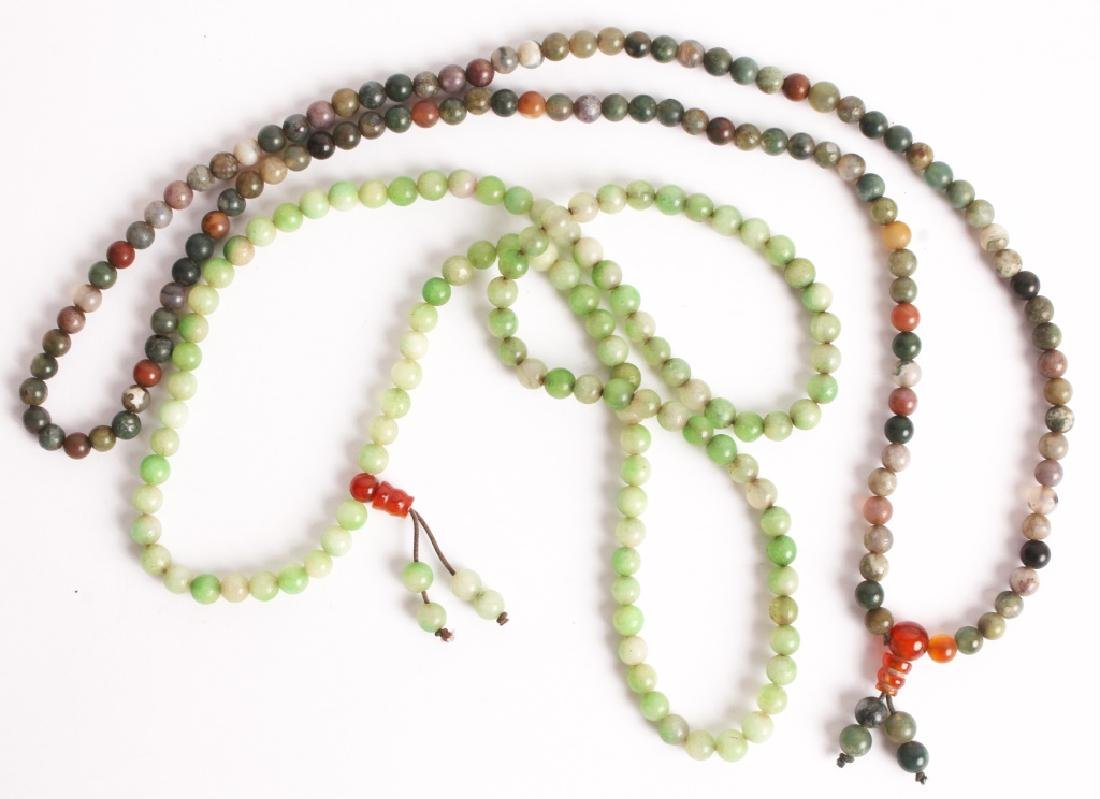 PAIR OF CHINESE CARVED STONE BEADED NECKLACES