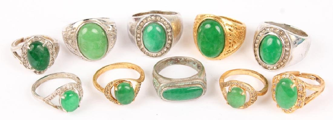 10 RINGS WITH INSET JADE & ARTIFICIAL JADE STONES