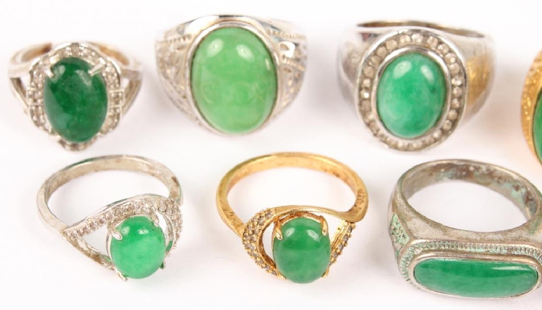 10 RINGS WITH INSET JADE & ARTIFICIAL JADE STONES - 2