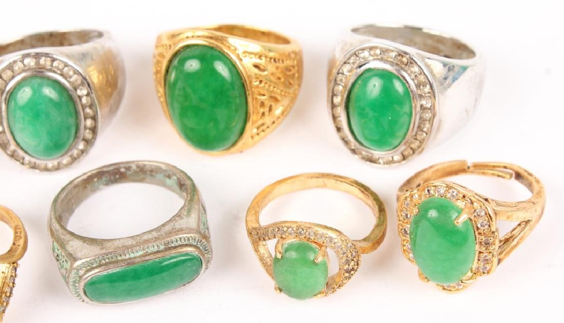 10 RINGS WITH INSET JADE & ARTIFICIAL JADE STONES - 3