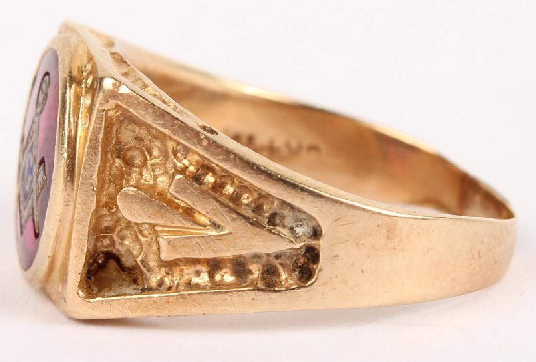 MENS 10K YELLOW GOLD MASONIC RING - 2
