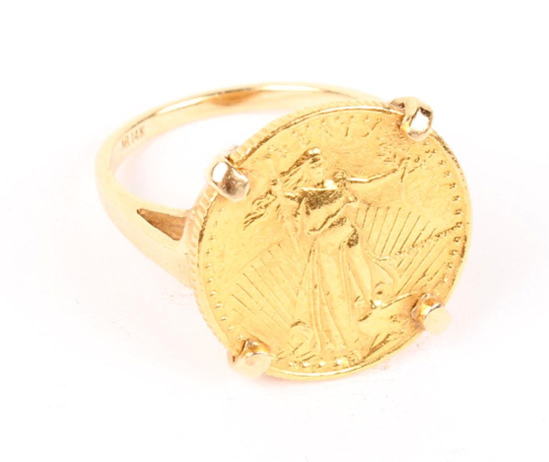 14K YELLOW GOLD 1/10TH OUNCE GOLD EAGLE COIN RING