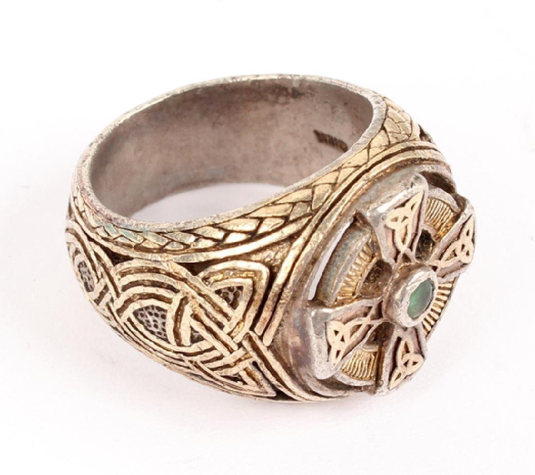 MENS STERLING SILVER CELTIC KNOT MOTIF RING - 2