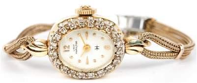 LADIES HAMILTON 14K YELLOW GOLD DIAMOND WRISTWATCH