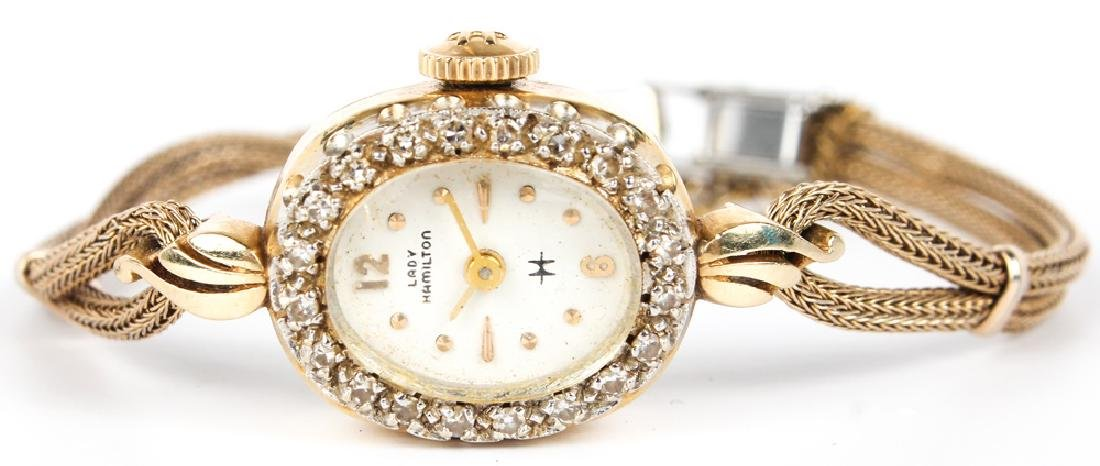 LADIES HAMILTON 14K YELLOW GOLD DIAMOND WRISTWATCH