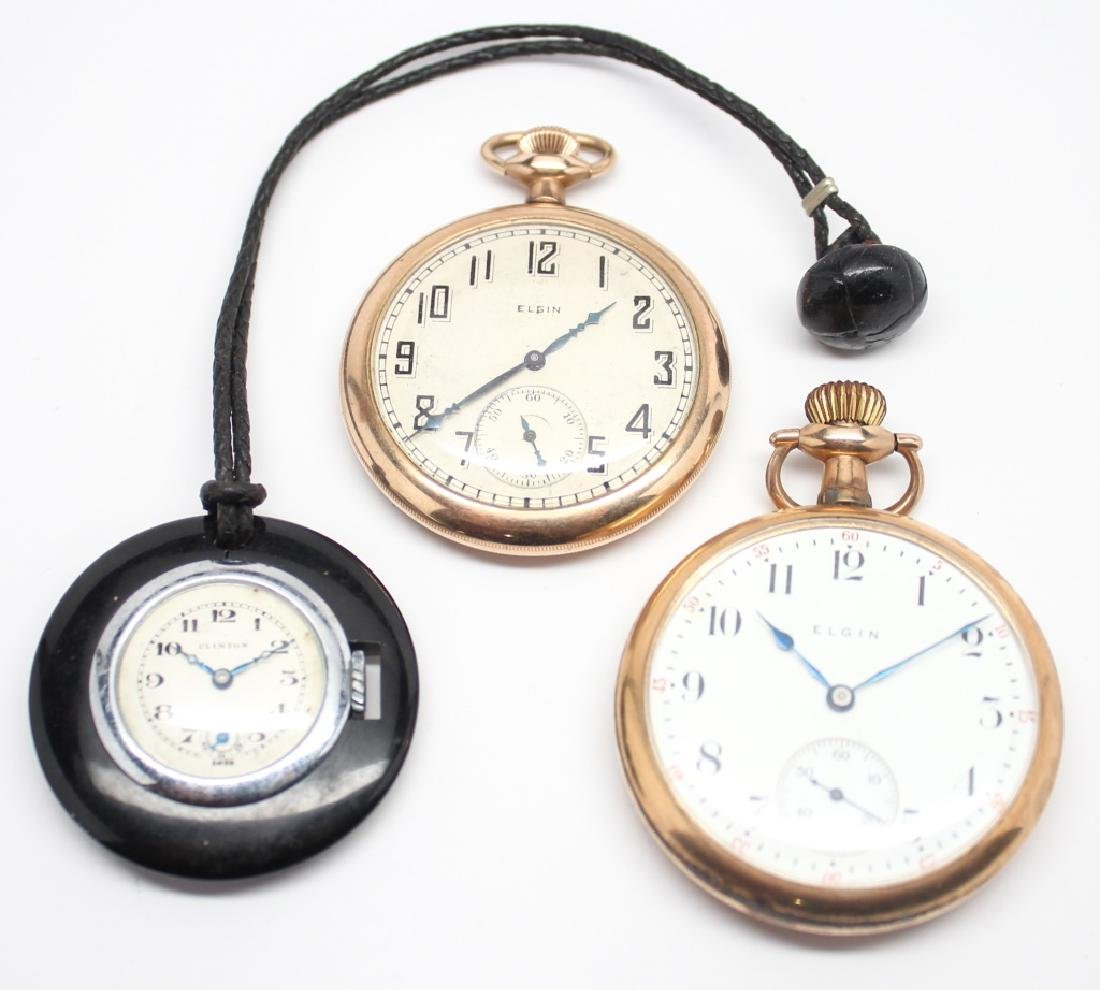 MEN'S POCKET WATCHES - ELGIN, CLINTON, DUEBER