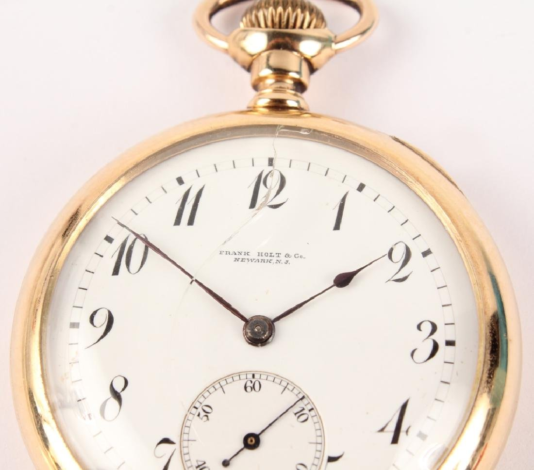 14K YELLOW GOLD FRANK HOLT & CO POCKET WATCH - 2