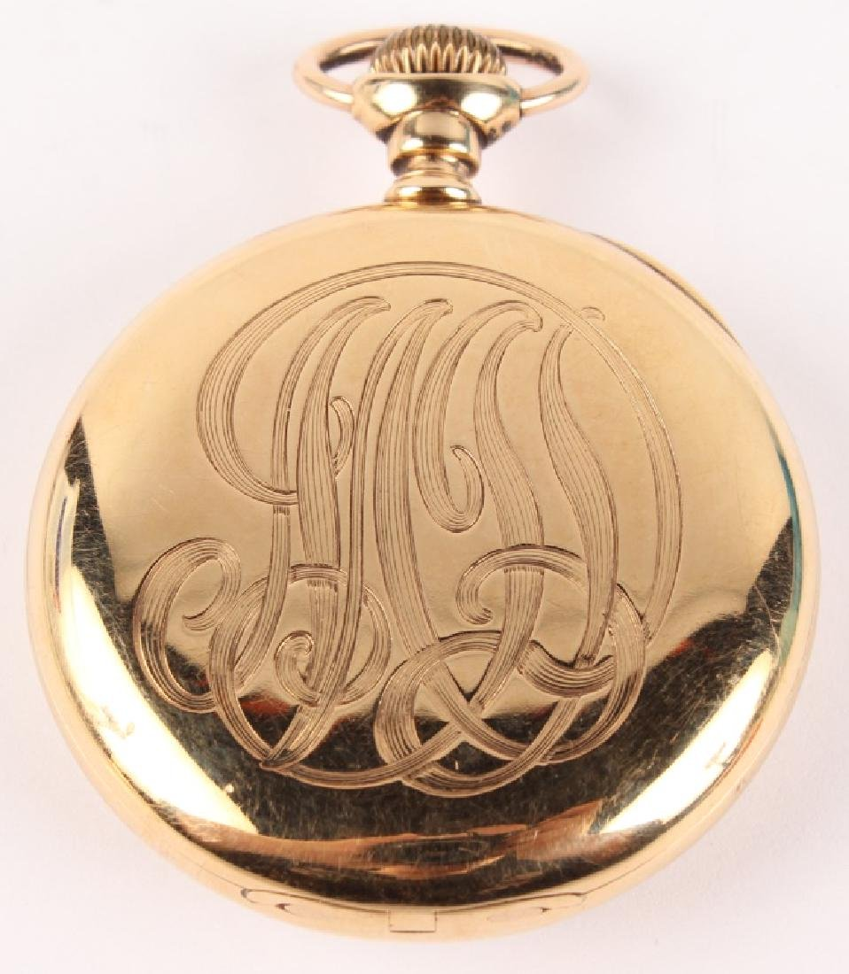 14K YELLOW GOLD FRANK HOLT & CO POCKET WATCH - 3