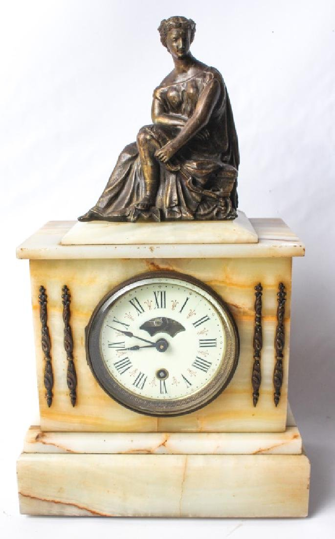 BOSTON CLOCK CO. MARBLE MANTEL CLOCK w/ BRONZE