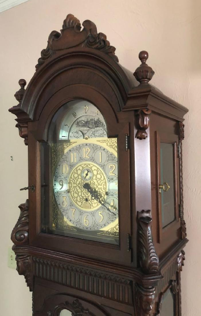 MOON PHASE MAHOGANY LONG CASE CLOCK by COLONIAL - 8