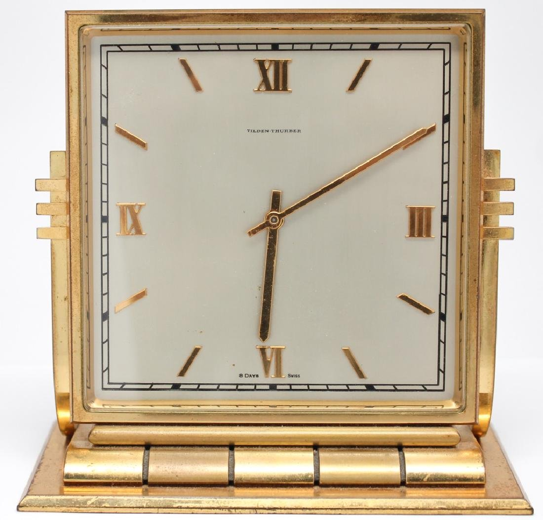 TILDEN - THURBER 8 DAY SWISS BRASS DESK CLOCK