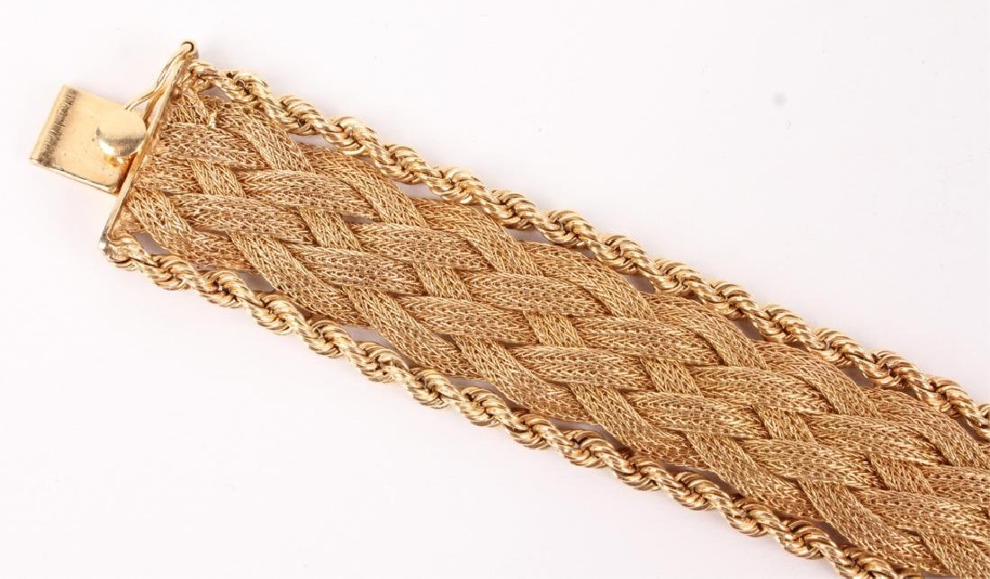 LADIES 14K YELLOW GOLD WOVEN TWISTED ROPE BRACELET - 2