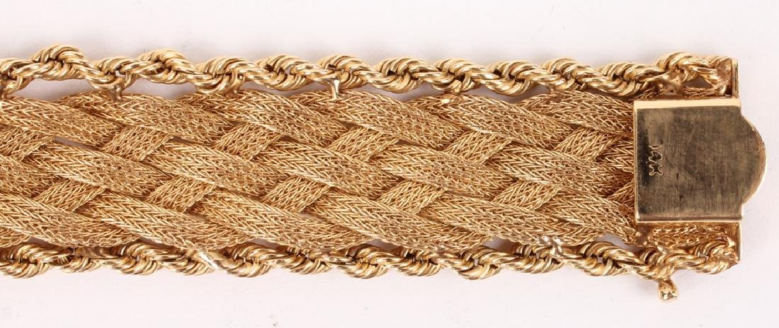 LADIES 14K YELLOW GOLD WOVEN TWISTED ROPE BRACELET - 3