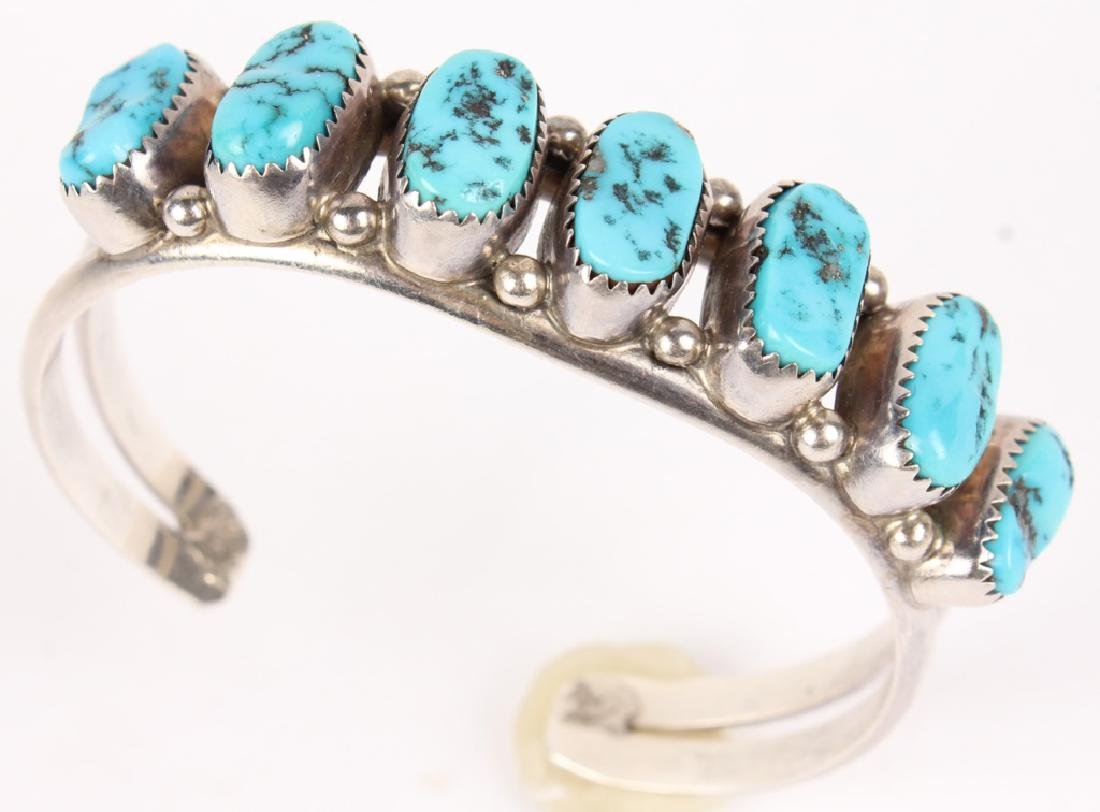 ROUGH DYED TURQUOISE SILVER CUFF BRACELET