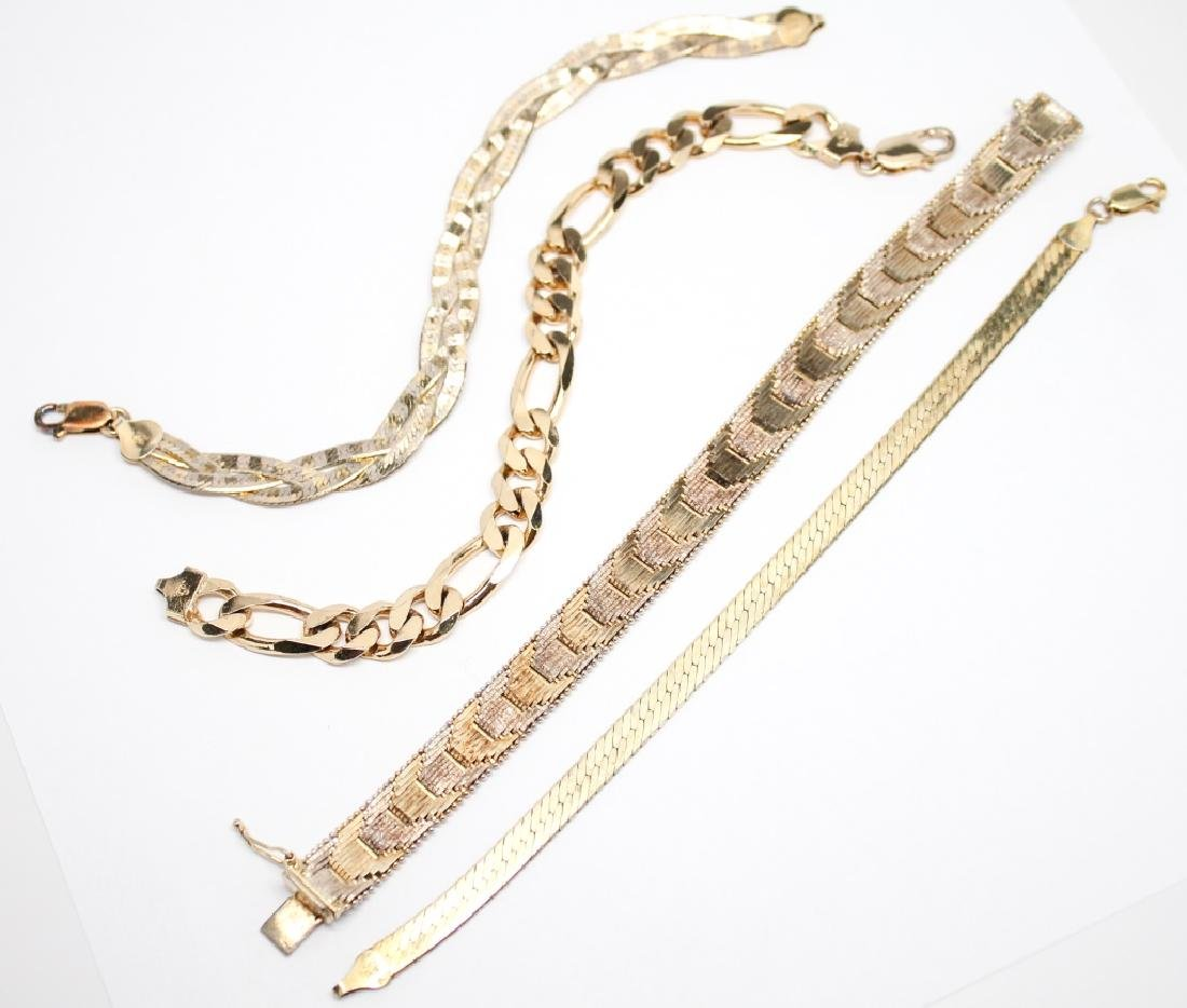GOLD OVER STERLING SILVER BRACLETS - LOT OF 4