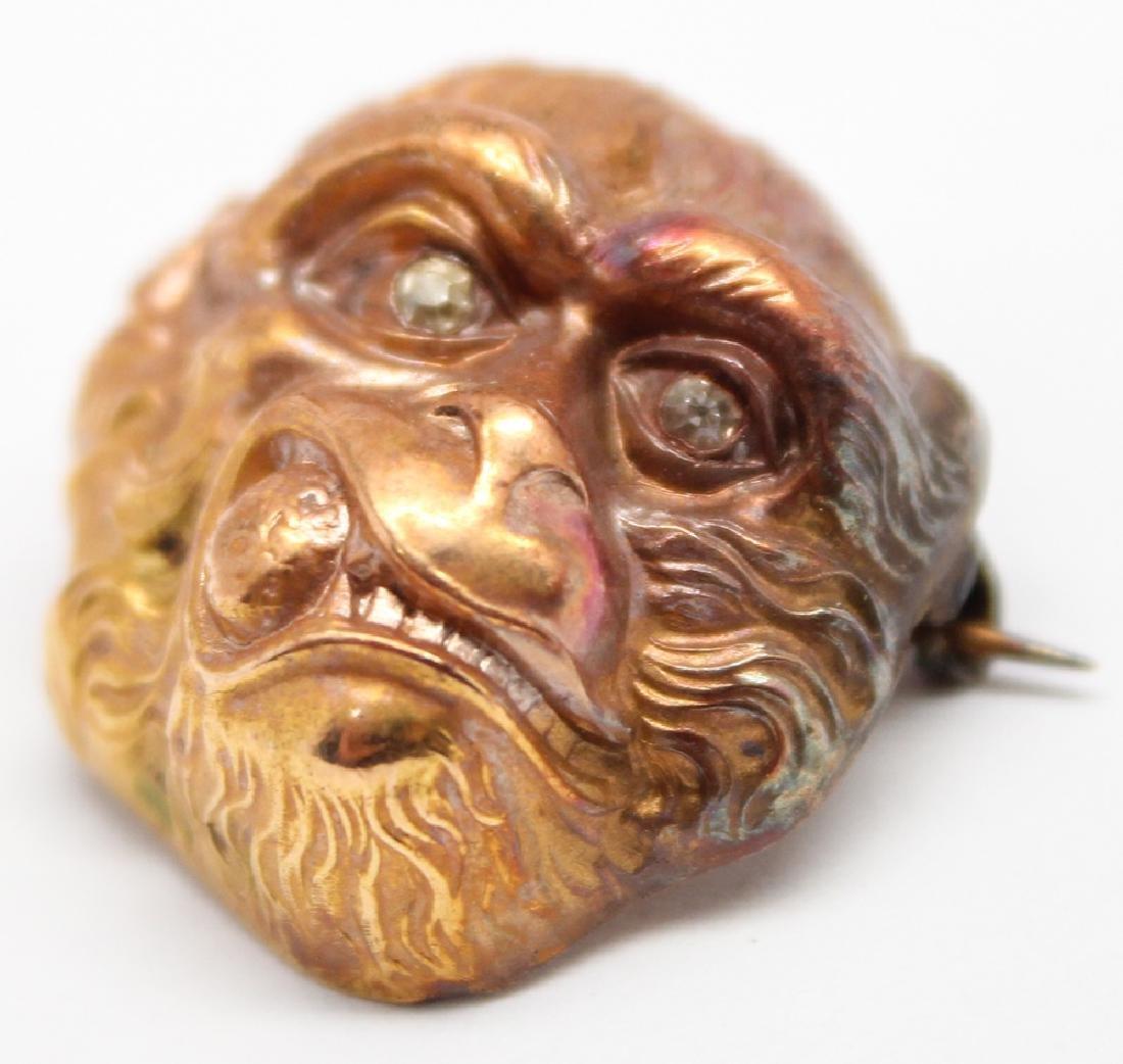 14K YELLOW GOLD DIAMOND MONKEY PIN