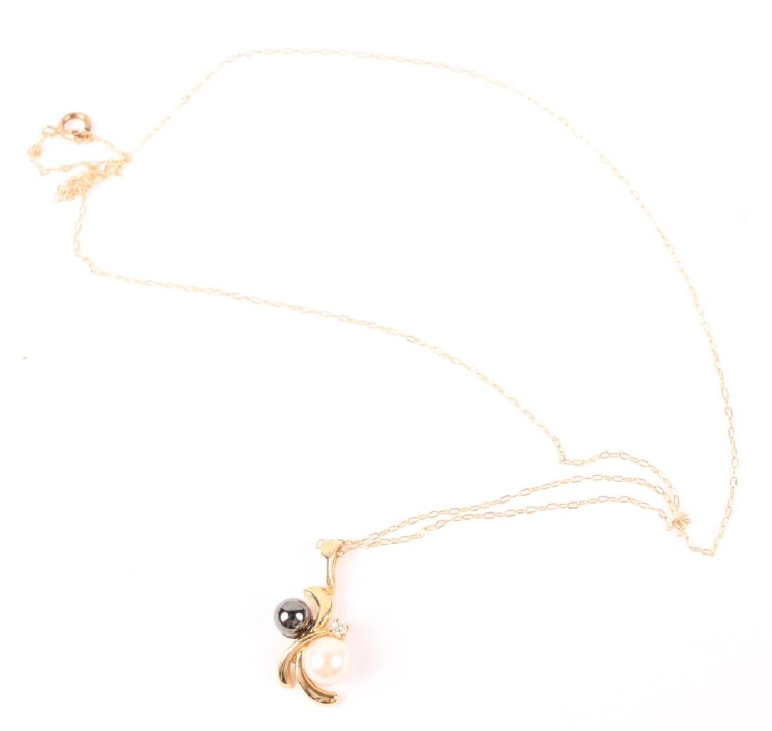 LADIES 14K YELLOW GOLD PEARL HEMATITE NECKLACE - 2