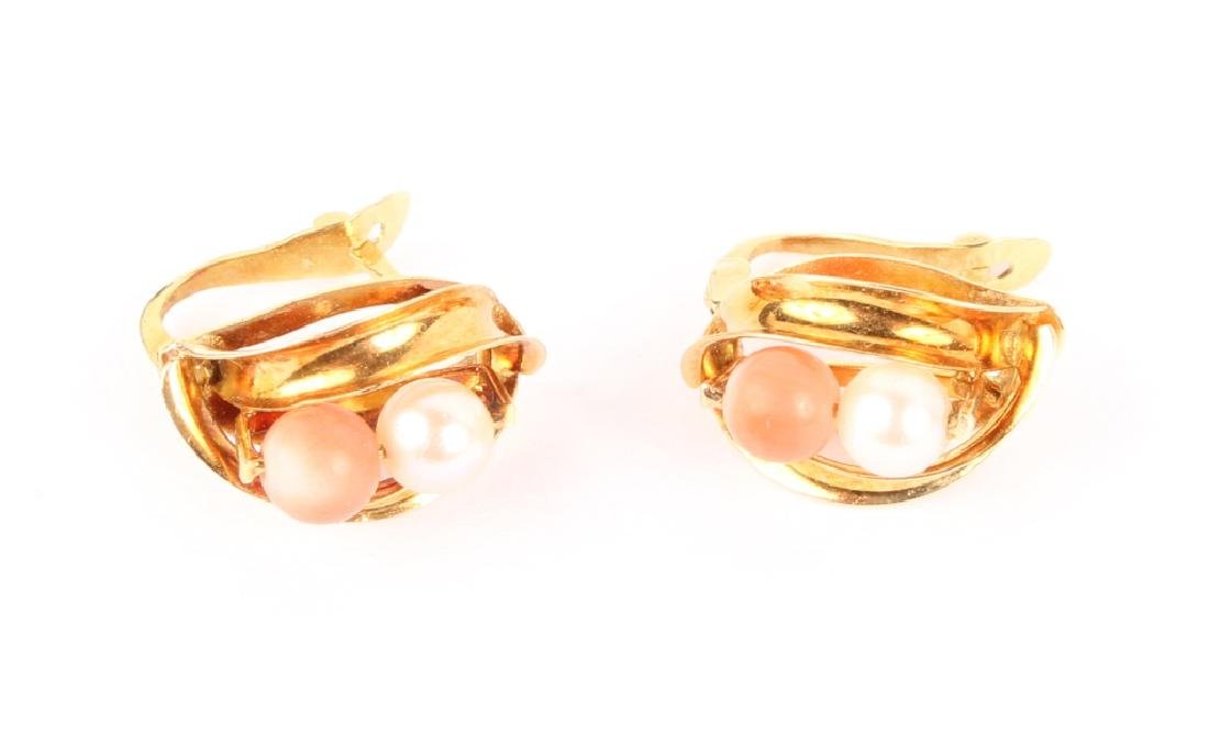 LADIES 18K YELLOW GOLD PEARL RED CORAL EARRINGS