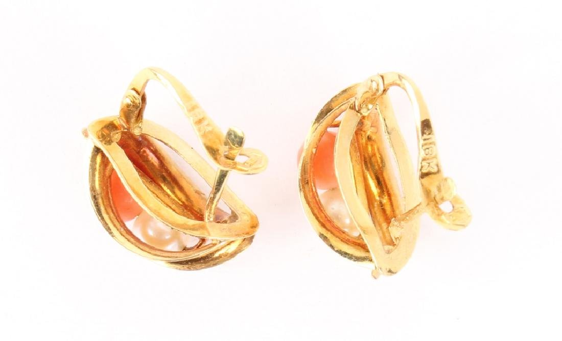 LADIES 18K YELLOW GOLD PEARL RED CORAL EARRINGS - 2