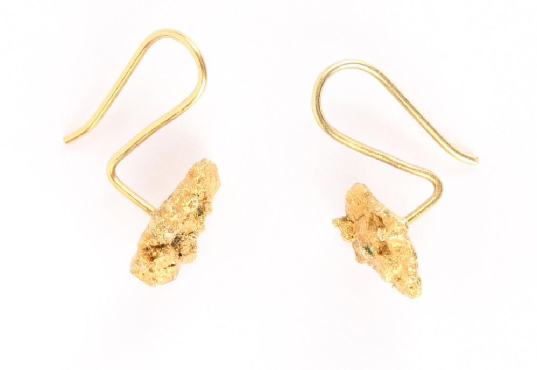 LADIES 22K YELLOW GOLD NUGGET EARRINGS - 2