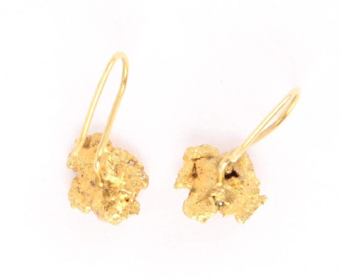 LADIES 22K YELLOW GOLD NUGGET EARRINGS - 3