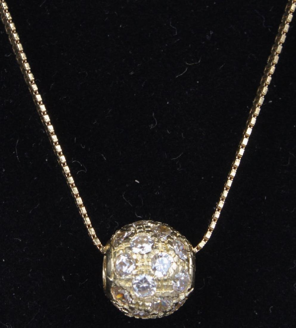 LADIES 14K YELLOW GOLD CZ SLIDE NECKLACE