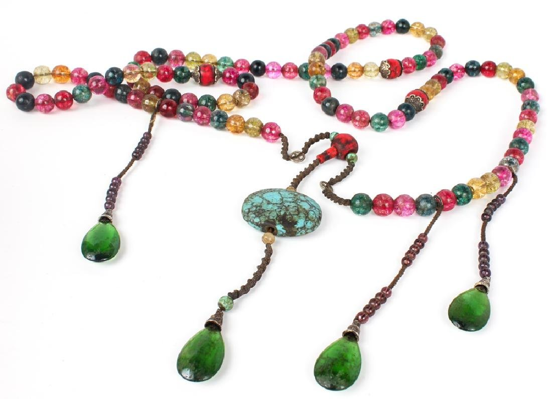 GLASS & HOWLITE BEADED NECKLACE