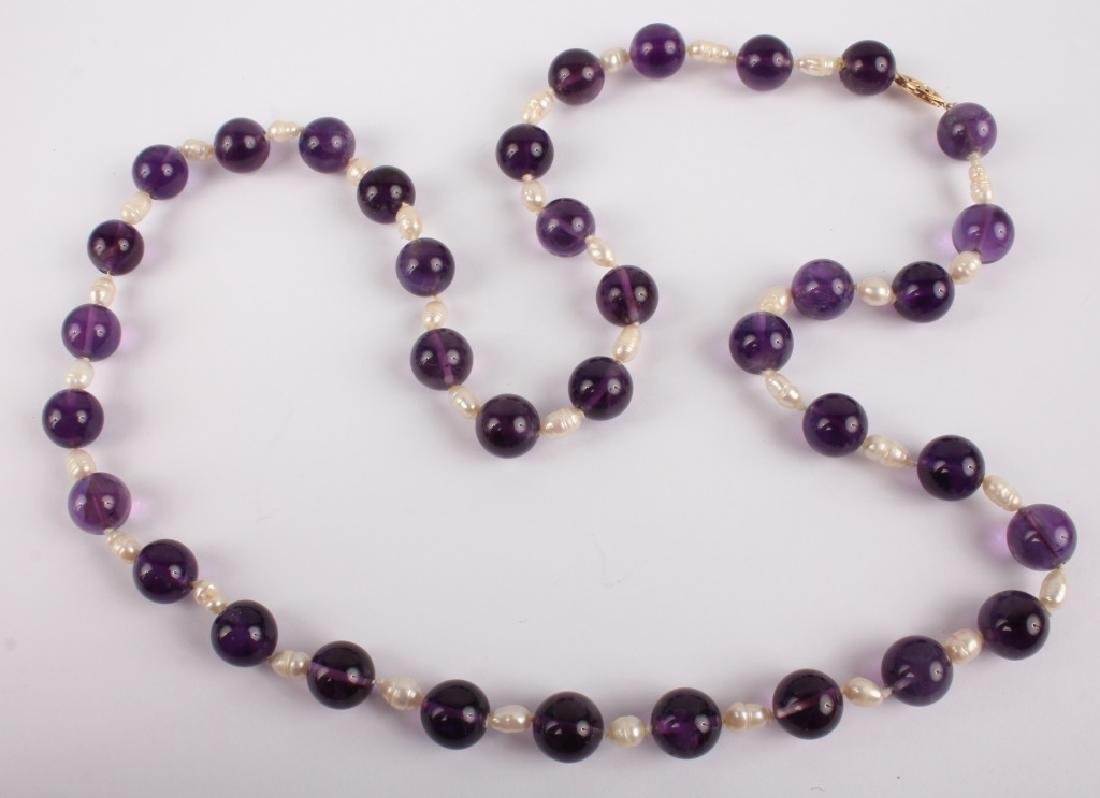 LADIES AMETHYST & PEARL 14K YELLOW GOLD NECKLACE