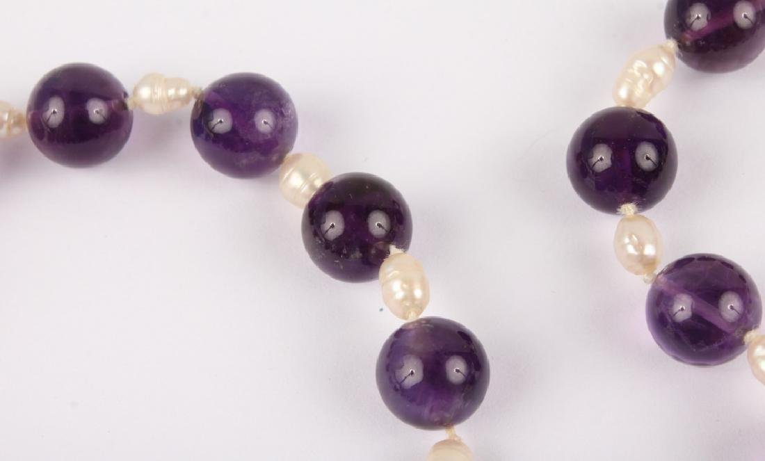 LADIES AMETHYST & PEARL 14K YELLOW GOLD NECKLACE - 2