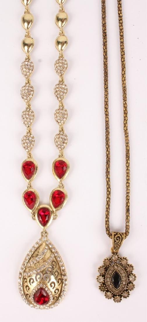 PAIR OF ORNATE COSTUME JEWELRY PENDANT NECKLACES
