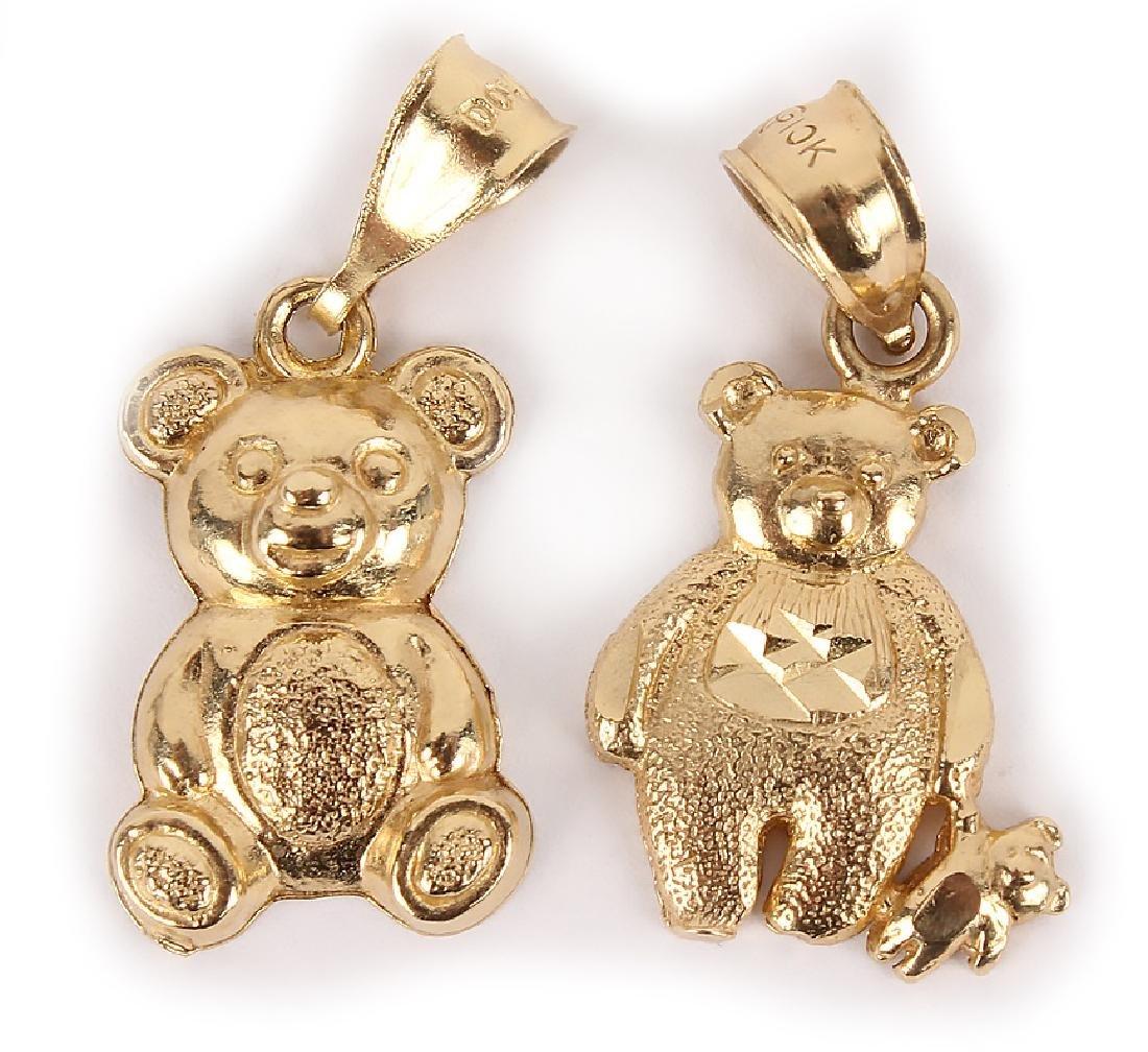 10K YELLOW GOLD BEAR PENDANTS - LOT OF 2