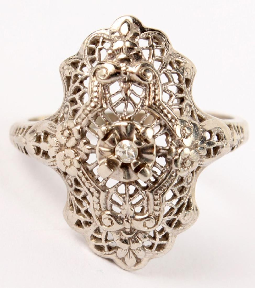 LADIES 10K WHITE GOLD DIAMOND FILIGREE RING