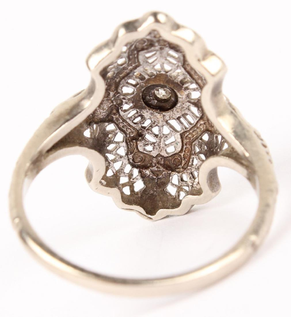 LADIES 10K WHITE GOLD DIAMOND FILIGREE RING - 3