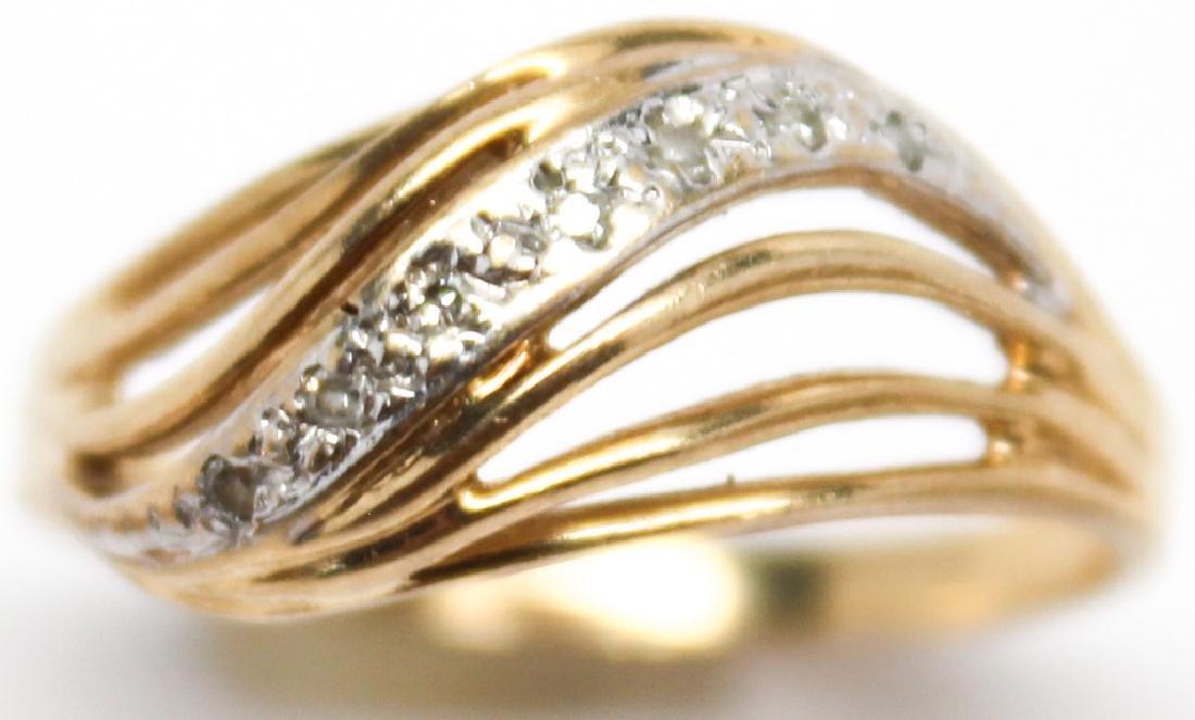 LADIES 10K YELLOW GOLD FASHION RINGS - LOT OF 3 - 3